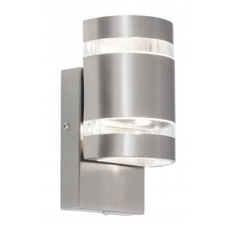 RABALUX 8779 | Cambridge Rabalux stenové svietidlo svetelný senzor - súmrakový spínač 2x LED 330lm 4000K IP44 zušľachtená oceľ, nehrdzavejúca oceľ