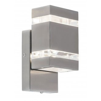 RABALUX 8780 | Cambridge Rabalux stenové svietidlo svetelný senzor - súmrakový spínač 2x LED 330lm 4000K IP44 zušľachtená oceľ, nehrdzavejúca oceľ