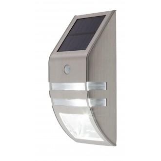 RABALUX 8783 | Rijeka Rabalux stenové dekor svietidlo pohybový senzor slnečné kolektorové / solárne 1x LED 50lm + 1x LED 15lm 6000K IP44 zušľachtená oceľ, nehrdzavejúca oceľ