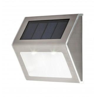 RABALUX 8784 | Santiago Rabalux stenové dekor svietidlo slnečné kolektorové / solárne, 2 dielna súprava 1x LED 12lm 6000K IP44 zušľachtená oceľ, nehrdzavejúca oceľ