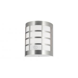 RABALUX 8800 | SevillaR Rabalux stenové svietidlo pohybový senzor, svetelný senzor - súmrakový spínač 1x E27 IP44 UV satén chróm, biela