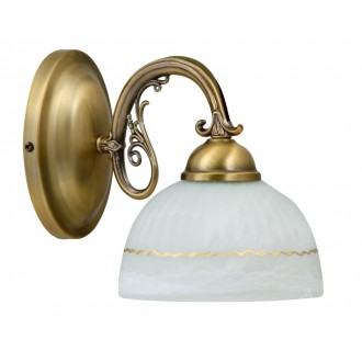 RABALUX 8811 | Flossi Rabalux rameno stenové svietidlo 1x E27 bronzová, biela alabaster