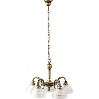 RABALUX 8815 | Flossi Rabalux luster svietidlo 5x E27 bronzová, biela alabaster
