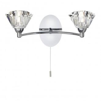 SEARCHLIGHT 2632-2CC | SierraS Searchlight rameno stenové svietidlo prepínač na ťah 2x G9 chróm, priesvitné