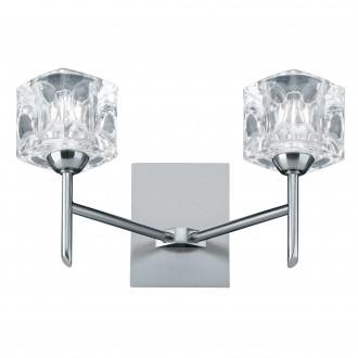 SEARCHLIGHT 4342-2-LED | Ice-Cube Searchlight rameno stenové svietidlo prepínač 2x LED 500lm 3000K chróm, saténové striebro, priesvitné