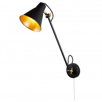 SEARCHLIGHT 6302BK | Wall-SL Searchlight rameno stenové svietidlo prepínač na ťah otočné prvky 1x E27 matná čierna, zlatý