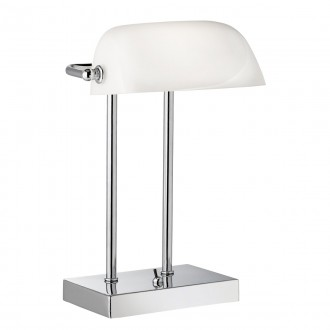 SEARCHLIGHT EU1200CC | BankersS Searchlight stolové svietidlo 32cm prepínač 1x E14 chróm, biela