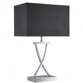 SEARCHLIGHT EU7923SS | Club Searchlight stolové svietidlo 49cm prepínač 1x E14 saténové striebro, čierna