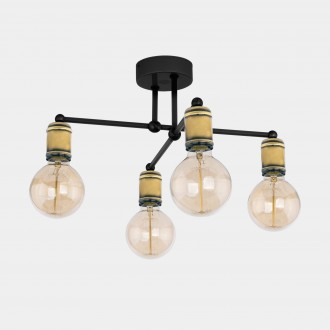 TK LIGHTING 1904 | Retro-TK Tk Lighting stropné svietidlo 4x E27 čierna, antická bronzováová
