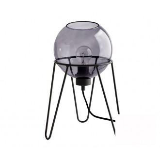 TK LIGHTING 2969 | Pobo Tk Lighting stolové svietidlo 30cm prepínač na vedení 1x E27 čierna, dym