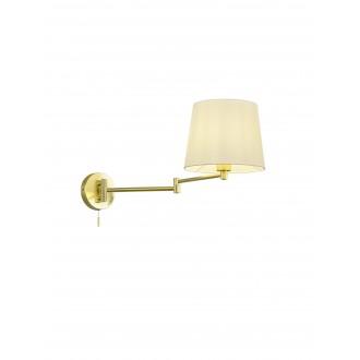 TRIO 209100108 | Lyon-TR Trio rameno stenové svietidlo prepínač na ťah otočné prvky 1x E27 matný zlatý, biela