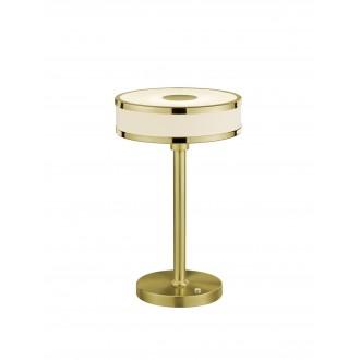 TRIO 578090108 | Agento Trio stolové svietidlo 32cm dotykový prepínač s reguláciou svetla regulovateľná intenzita svetla 1x LED 750lm 3000K matný zlatý, špinavá biela