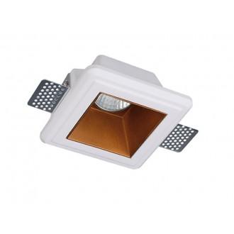 VIOKEF 4209900 | Flame-VI Viokef zabudovateľné svietidlo malovatelné 120x120mm 1x GU10 biela, mosadz