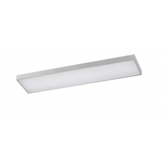 WOFI 9135.01.70.7300 | Glam Wofi stropné svietidlo obdĺžnik diaľkový ovládač regulovateľná intenzita svetla, nastaviteľná farebná teplota 1x LED 3600lm 2700 <-> 6500K strieborný, biela, kryštálový efekt