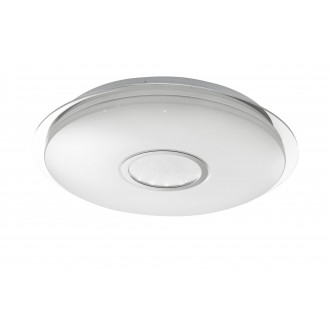 WOFI 917701066000   Dorp Wofi stropné svietidlo kruhový diaľkový ovládač regulovateľná intenzita svetla, nastaviteľná farebná teplota 1x LED 2480lm 3000 <-> 6400K biela, strieborný, kryštálový efekt