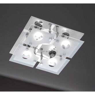 WOFI 986105010000 | Cali Wofi stropné svietidlo diaľkový ovládač regulovateľná intenzita svetla, meniace farbu 4x GU10 1200lm + 1x LED 3000K chróm, biela, priesvitné